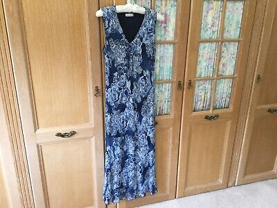 Country Casuals Dress Size 14 Lovely Blue Colours & Shape Very Flattering