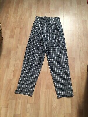Vintage Vtg Italian Pennyblack Cotton Summer Tapered Balloon Check Trousers