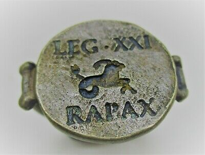 Ancient Roman Bronze Silvered Legionary Ring Leg Xxi Rapax