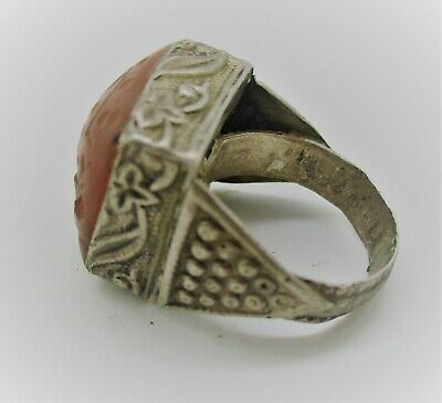 Beautiful Medieval Islamic Silver Ring With Carnelian Animal Intaglio Stone