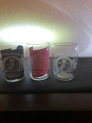 Pre-Pro Gettelman Etched Barrel Beer Glasses [3]  Different One  3.625 Milwaukee