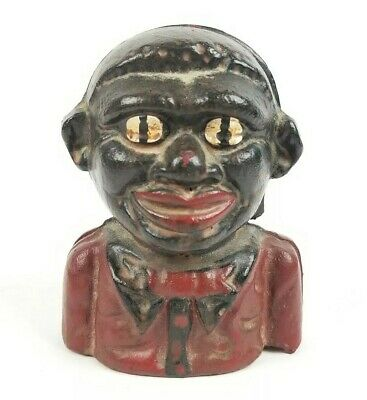 Cast Iron Black Americana Young Boy Still Coin Money Bank! Read The Back Of Bank