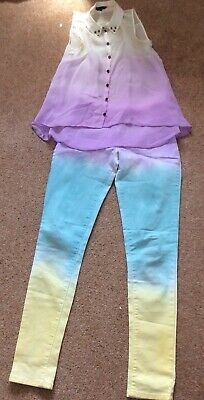 Girls Matalan Multi Coloured Skinny Jeans And Chiffon Shirt. Age 12-13.Good Cond