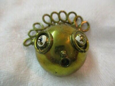 Vintage brass metal Shank Button Surprised Face