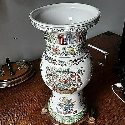 antique Chinese Hand-Painted Floral with butterflies Porcelain Flared Vase vint