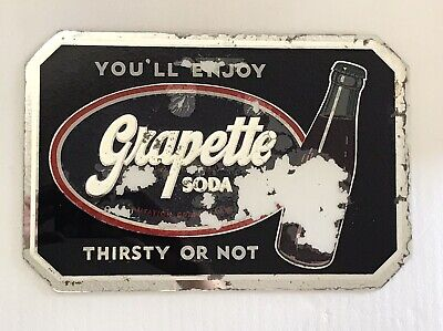 Vintage Hard to Find GRAPETTE SODA Advertising Reverse Painted Mirrored SIGN