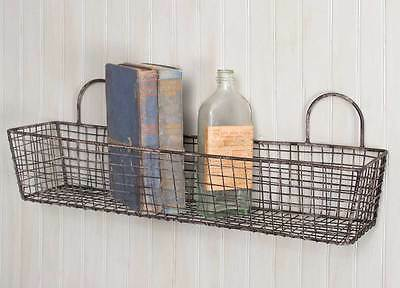 Set Of 2 FRENCH BAKERY WALL BASKETS Vintage Style Wire Rustic Country Farmhouse