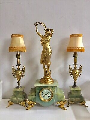 Antique French Onyx And Ormolu Clock Set Garniture With Electric Lamps
