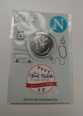 RARE LETTER N, NHS 2018 A to Z 10p Pence coin in Royal Mint Special Edition Pack