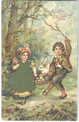 Beautiful posted 1911 Vintage Easter Postcard. Girl in green silk appliqué dress