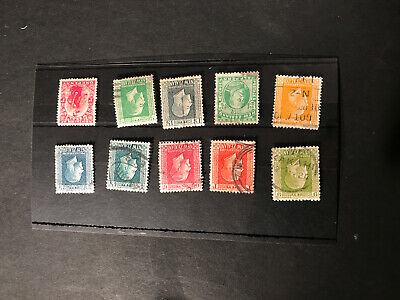 Stamps - Bc Kg5 New Zealand (10) Mix Cond & Vals Used All Show