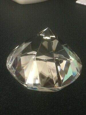 80 mm large crystal glass paperweight clear diamond shaped gem