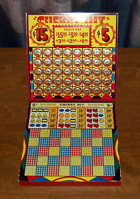 Vintage Cherry Hit Punch Card Game Money Board Gambling $5/$15 1000 Hole NICE!!!