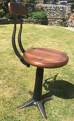 Vintage 1920s Industrial Singer Machinist Sewing Stool Chair Antique Collectible