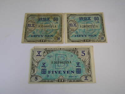 3 Japanese Military Currency