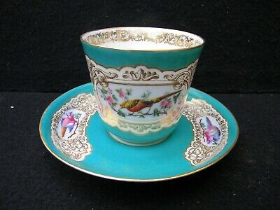 Beautiful Unknown Maker Porcelain Demitasse Cabinet Cup & Saucer-Bird Design