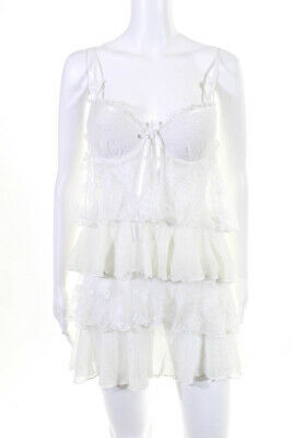In Bloom by Jonquil Womens Camisole White Lace Tiered Size Medium