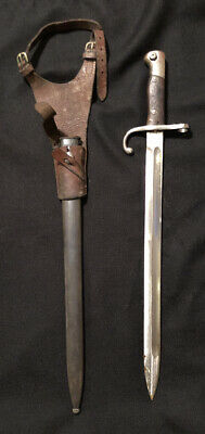 Argentine Mauser Sword 1909 Bayonet Scabbard w/ Matching Numbers & Leather Frog
