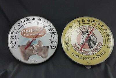 Vintage Pair Taylor Outdoor Thermometers Pigs & Horse Product Advertising 12 in