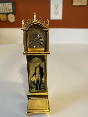 Bulova's George Washington Solid Brass Miniature Grandfather Clock