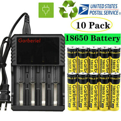 Garberiel BRC 3.7V 18650 Battery Li-ion Rechargeable Batteries For Flashlight US