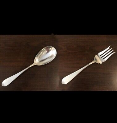 Stieff Sterling Silver Large Serving Spoon + Large Cold Meat Fork