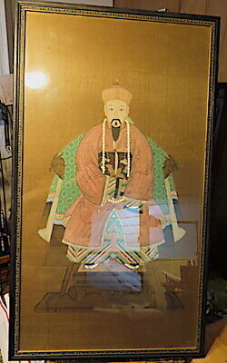 Local Pick Up, 2 Antique / Vintage Large Framed Chinese Ancestral Painting,Silk