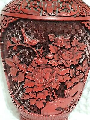 Large Antique Chinese Carved Cinnabar Lacquer Vase Chrysanthemum Bird