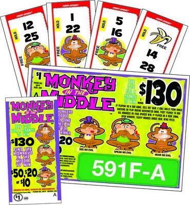 """Monkey in the Middle"" Pull Tab Ticket,  Bingo play along game"