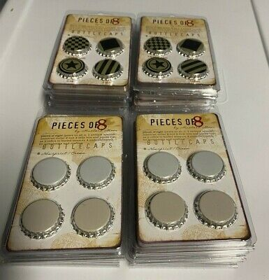 """22 packs of 6 (132) """"Pieces of 8"""" new bottle caps for crafting or jewelry"""