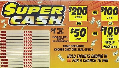 """Super Cash"" Pull Tab Ticket, Bingo Seal Card Game ($200)"