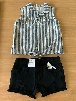 Girls size 7 stripe sleeveless blouse & black denim distressed shorts Target NEW