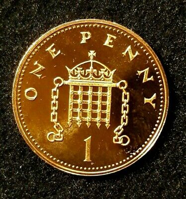 1988 Royal Mint Crowned Portcullis Chains One Penny 1p UK Uncirculated Coin