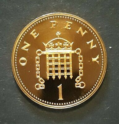 1990 Royal Mint   Crowned Portcullis Chains One Penny 1p UK Uncirculated Coin