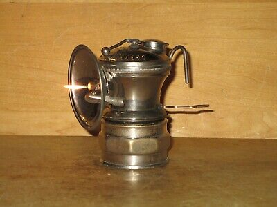Miners AUTO-LITE CARBIDE LAMP- NICKEL PLATED! -WORKING - NICE!!