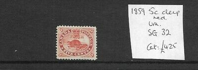 Superb Early 5 Cent Canada Stamp with Beaver, 1859