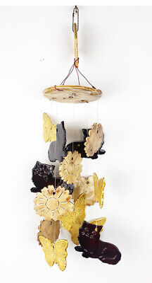 Handcrafted Ceramic Butterflies Flowers Cats Wind Chime Home Decor Mobile Garden
