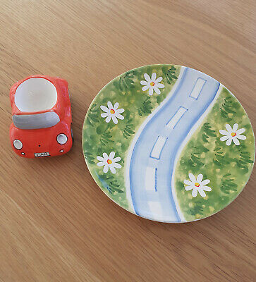 Childs Car And Road Ceramic Egg Cup And Plate Set From Rayware