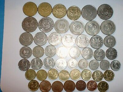 Singapore Coin Lot- 51  Old & New Coins - Some Rare - No Duplicates - 1967-2011