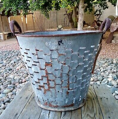 Large Vintage Olive Bucket Farmhouse Rustic Rusty Basket Decor L@@K