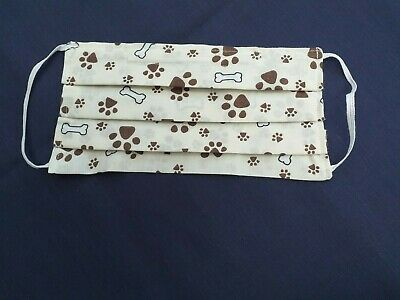 FACE MASK PAW PRINT CREAM.Washable,Hand Made,Double Sided Cotton,Various Designs