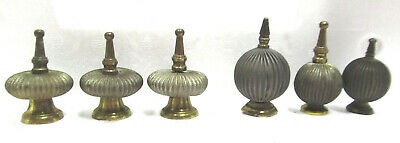 6 Antique French Tole Brass Curtain Rod Finial Ends