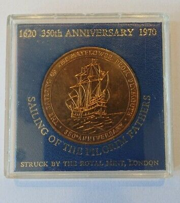 Sailing Of The Pilgrim Fathers 1620 350th Anniversary 1970 Coin Royal Mint