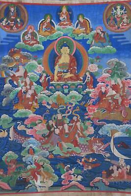Great Large Size Antique Chinese Buddhas Tibetan Thangka Painting.