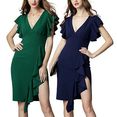 Cocktail Ruffle Sleeve Bodycon Fashion Dress Evening Party Deep V-neck Charming