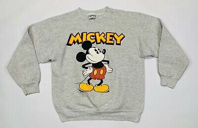 Vintage 1980's Velva Sheen Classic Mickey Mouse Gray Sweatshirt Adult L DISNEY
