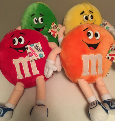 "Lot Of Four M&M Plush , Red, Orange, Yellow, Green.13"" 1987 Vintage NWT"