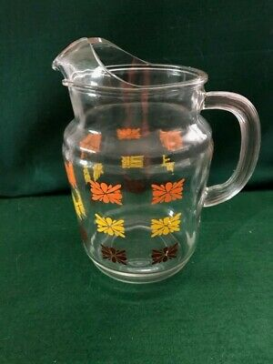 """Vintage Clear Glass WATER/JUICE PITCHER Brown Orange Yellow design 10"""" tall"""