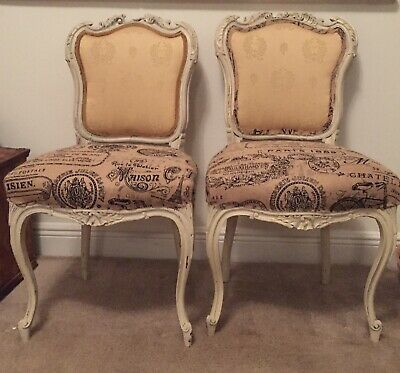Antique Vintage French Louis xvi 19 Th C Pair of Dining Chairs