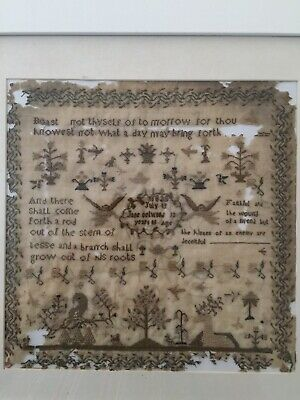 Antique Victorian Cross Stitch Sampler Dated 1835 By Jane Selwood Aged 13